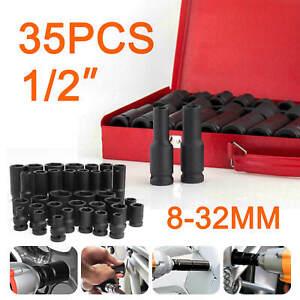"35Pcs Deep Impact Sockets 1/2"" Metric Drive Tool Set Garage Workshop 8-32mm"