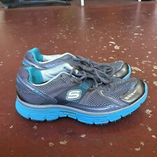 Women's Blue Gray SKECHERS Tone-Ups Fitness Sneakers Shoes Sz 6.5 Athletic Walk
