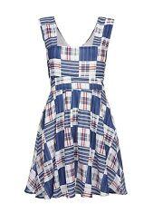 LOOK Mela Loves London Womens Blue Check Print Dress Ml1647 UK 8 EU 36