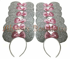 24 pc Minnie Mickey Mouse Ears Headbands Shiny Silver Pink Birthday Party Favors