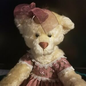"""DAVID SCARPATI FULLY JOINTED MOHAIR BEAR 16"""" W/ DRESS NO RESERVE"""