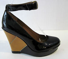 B.MAKOWSKY Black Patent Leather Camel Colored Wedge Heels Size 7 1/2 M