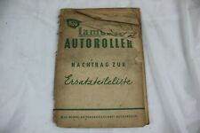 Ersatzteilliste NSU Lambretta Autoroll SPARE PARTS LIST CATALOG HAND BOOK MANUAL