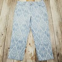 Chico's Denim Crop Jeans Size 8 Medium Blue White Stretch Platinum Chicos 1