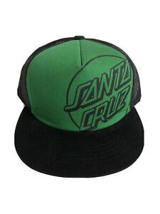 Santa Cruz Cap BNWOT Baseball Green Black Logo Front Skateboard Mesh Snapback