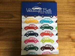 Official Licensed Retro Volkswagen VW Beetle Multi coloured Tea Towel. *new*