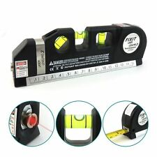 Multi Purpose DIY Spirit Level with Laser Horizontal Cross 8ft Tape Measure Tool