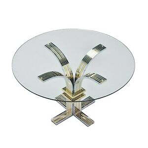 Banci Firenze Chrome Brass Circular Glass Dining Table Hollywood Regency Retro