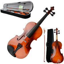 Size 3/4 Acoustic Violin with Case Bow Rosin Strings Tuner Shoulder Rest Natural