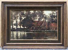 Tableau Ancien Huile Paysage Canal Maisons Edmond De Schampheleer Belge XIXe