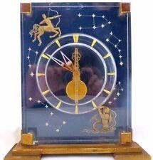 JAEGER LECOULTRE BRASS & ACRYLIC KEYLESS WIND DESK CLOCK THE ZODIAC 1970s BOXED