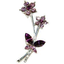 Bouquet Butterfly~ Pin Brooch Jewelry w Swarovski Crystal ~Purple Flower Floral