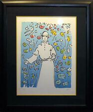 "Peter Max ""Monk In Garden"" Signed #ed Artwork Serigraph pop art 1974 MAKE OFFER!"