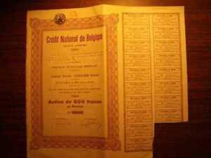 Credit National de Belgique Bond 500 FR 1925