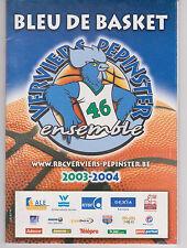 Programma / Programme Blue de Basket Verviers-Pepinster v Charleroi 2003-2004