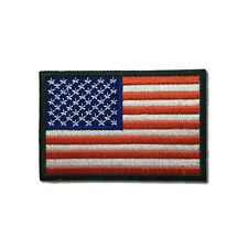 """Embroidered 3"""" American US Flag Black Border Sew or Iron on Patch Biker Patch"""