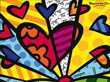 STAMPA SU TELA CANVAS Britto Love Heart 40X30 MODERNO DESIGN POP ART ARREDO CASA