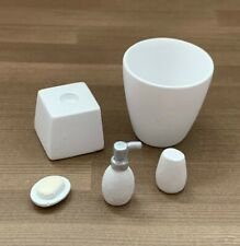 More details for dolls house miniature 1/12th scale modern white bathroom accessory set hw4058