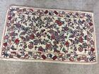 """Vintage Handmade Wool Crewel Flower and Leaf Pattern Rug 32""""x54"""""""