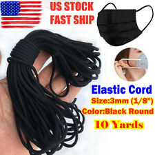 """3mm (1/8"""") Black Round Elastic Band Cord Ear Hanging Sewing For Face Mask 10 YA"""
