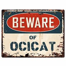 PP1566 Beware of OCICAT Plate Rustic Chic Sign Home Room Store Decor Gift