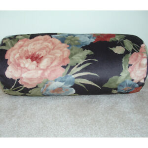 Bolster Cushion Cover Velvet Floral Lily Flowers Cylinder Round 6x16 Black Pink