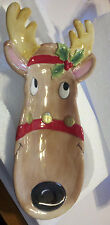 """FITZ AND FLOYD CHRISTMAS SNACK THERAPY REINDEER SERVER 13"""" TALL NEW  IN BOX"""