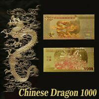 Chinese Dragon 1000 China Century Commemorative Gold Foil Notes