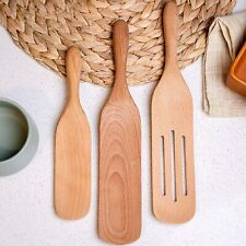 Wooden Spurtle Set of 3 Wood Cookware Set with Slotted Spatula & Spurtle Cooking