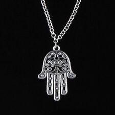 Hamsa Fatima Hand Pendant Charm Silver Chain Necklace Jewish Judaica Kabbalah