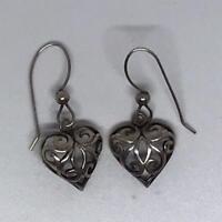 Vintage .925 Sterling Silver Earrings Dangle Heart
