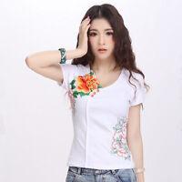 Lady Ethnic Embroidery Flower Shirt Short Sleeve Slim Blouse Top Plus Size Basic