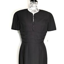 Chaus Womens Evening Business Casual Black Short Sleeve Ribbed Dress NEW Size 8