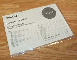 OEM Operation Manual Only FOR Sharp YO-520P Electronic Organizer *READ*