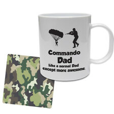 FUNNY Militare Tazza & Sottobicchiere Set-COMMANDO DAD-Marine/Set Regalo dell'Esercito