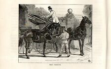 Stampa antica CARROZZA POSTALE FAETON con DUE CAVALLI 1892 Old print horses