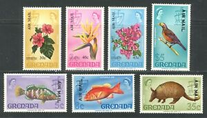 """GRENADA 1972, FISH, BIRDS, FLOWERS, ETC OVERPRINTED """"AIR MAIL""""  7  DIFFERENT MNH"""
