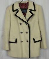LONDENFREY Coat Vintage 1960's West Germany Mohair Wool Ivory Brown Trim