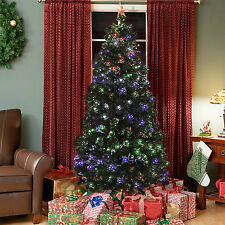 Pre-Lit Fiber Optic 7' Green Artificial Christmas Tree with LED Multicolor Light