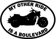 """RIDE SUZUKI BOULEVARD MOTORCYCLE Vinyl Decal Sticker-6"""" Wide White Color"""