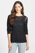 Eileen Fisher black knit cerise ballet neck top sweater L