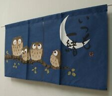 Japanese Noren Curtain Bird Fukuro Owl Family Navy 85 x 45cm MADE IN JAPAN