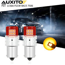 1156A P21W BA15S LED Amber Yellow Turn Signal Parking DRL High Power Light Bulbs