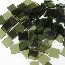 """100 1/2"""" Olive Green Mix Cathedral Coe 96 Stained Glass Mosaic Tiles"""