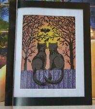 Pair Black Cats Admiring Halloween Full Moon + Bats in Trees Cross Stitch Chart