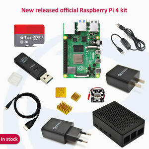 Raspberry pi 4B (2/4/8GB)complete kit with 64GB SD card adapter black case HDMI
