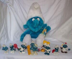Lot of 10 Original Vintage PVC & Plush w/ tag Smurf Figures Peyo Schleich 80s !
