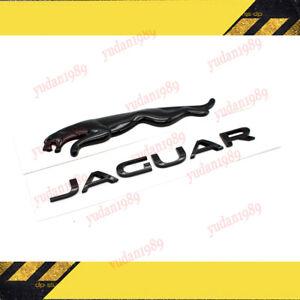 Gloss Black Jaguar + Logo Emblem Rear Badge Decal For XE XF XJ XJL E F I-Pace