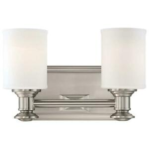 Harbour Point 2-Light Brushed Nickel Bath Light by Minka Lavery