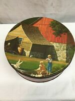 Vintage Tin Litho Cookie Tin Canister STONE  BARN CHILDREN  Country Cottage